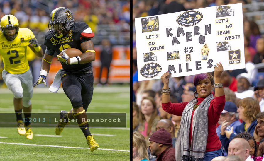 Kameron Miles runs for yardage at the 2013 Army All-American High School Football Game while his biggest fan cheers him on from the stands.  Kameron is from West Mesquite HS (Mesquite, TX) and has made a commitment to play for Texas A&M.